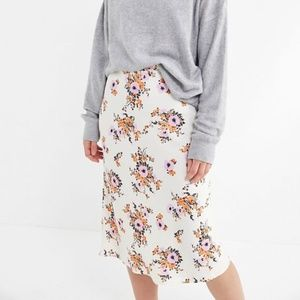 Urban Outfitters Slinky Floral Satin Slip Skirt